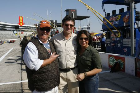 Mario Batali, Andrew Giangola, and Rachael Ray party it up at Texas Motor Speedway