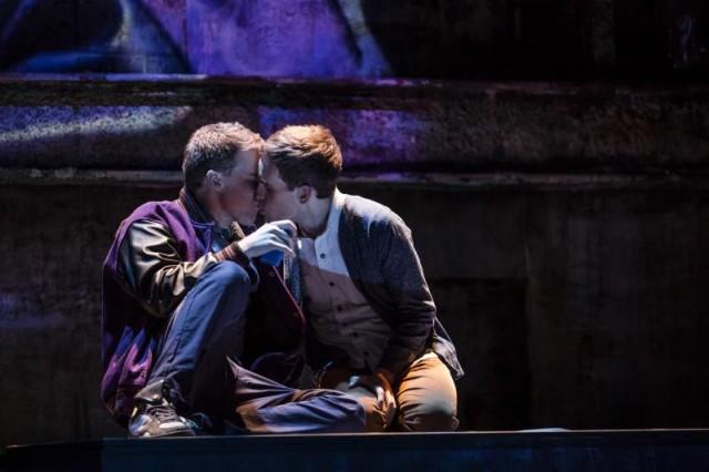 Jason (Jason Hite) and Peter (Taylor Trensch) share a forbidden kiss in BARE THE MUSICAL