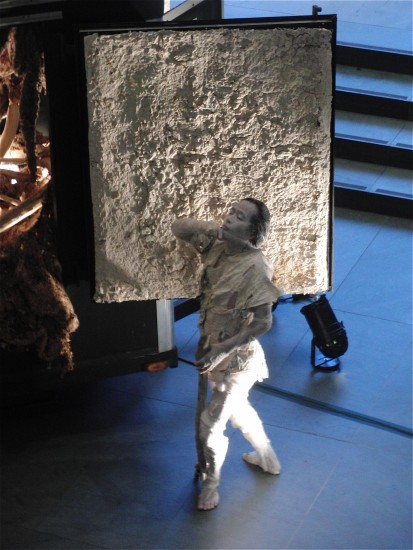 Koma emerges from the trailer and takes a slow walk in MoMA lobby (photo by twi-ny/mdr)