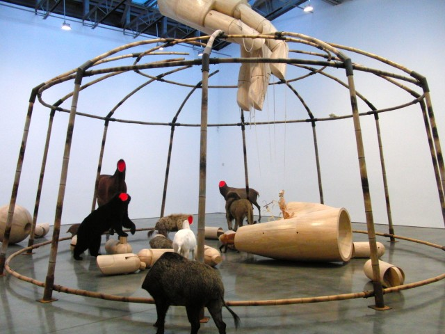 "Huang Yong Ping's ""Circus"" uses taxidermied animals in examining the role of the Creator (photo by twi-ny/mdr)"