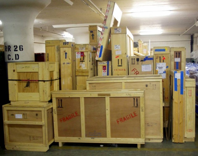 """Al Hamm's """"Untitled . . . Crates"""" fill the entryway to Scope"""