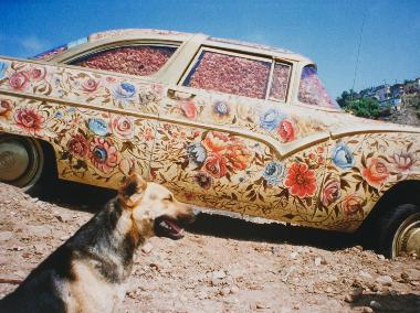 "Betsabee Romero, ""Ayate con Perro (Ayate fabric with dog),"" chromogenic print, 2005 (photo courtesy el Museo del Barrio)"