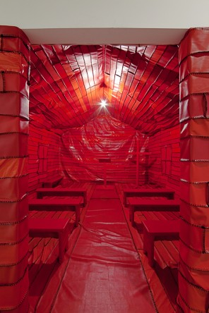 "Rodney McMillian, ""Asterisks in Dockery,"" mixed-media installation, 2012 (photo by Sheldan C. Collins)"