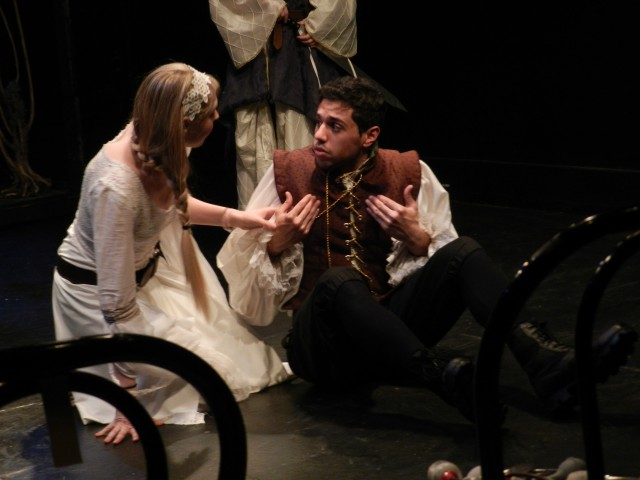 Ophelia (Krissy Garber) and Horatio (Elohim Pena) discuss strategy in horror comedy LIVING DEAD IN DENMARK (photo by Sue Nordstrom / courtesy John Capo Public Relations)