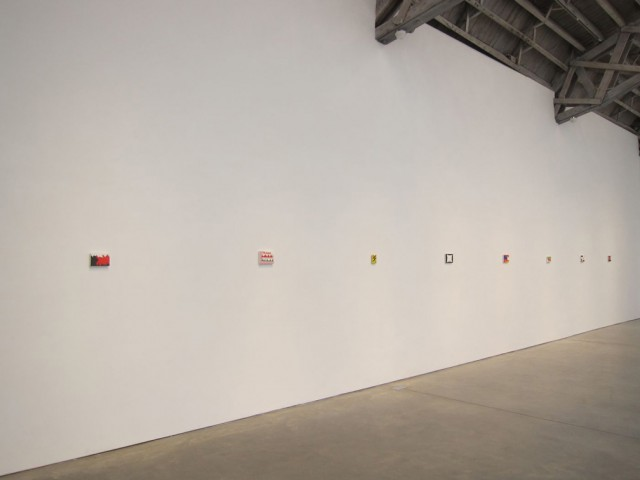 Eight small works are spread out along one long wall in Andrew Masullo's show at Mary Boone (photo courtesy Mary Boone Gallery)