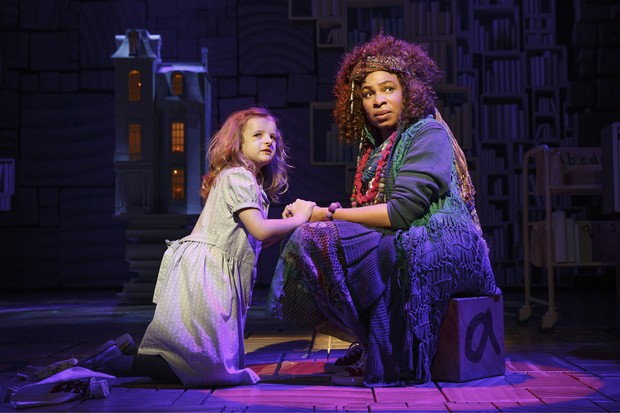 Matilda (Molly Shapiro) tells illuminating, and very adult, stories to Mrs. Phelps the librarian (Karen Aldridge) in MATILDA (photo by Joan Marcus)