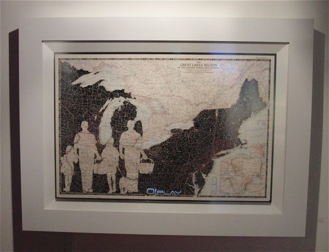 Installation includes geographic portraits made of cut maps emphasizing negative space (photo by twi-ny/mdr)