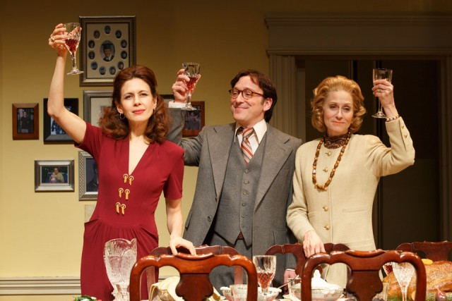 Julie (Jessica Hecht), Jeff (Jeremy Shamos), and Faye (Judith Light) share a Christmas toast in THE ASSEMBLED PARTIES (photo by Joan Marcus)