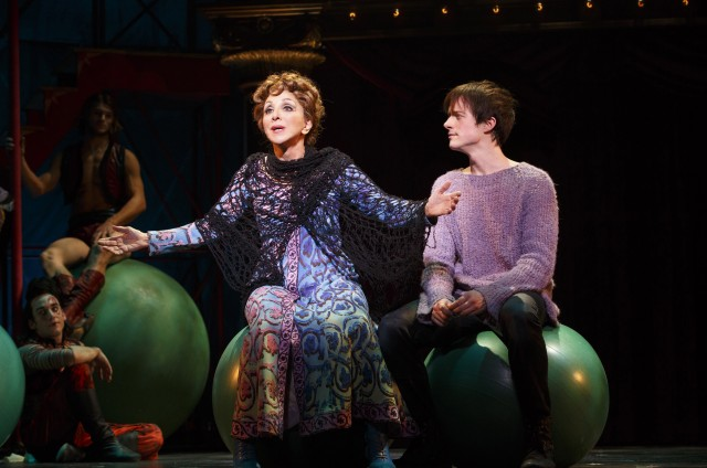 Berthe (Andrea Martin) gives life lessons to her grandson (Matthew James Thomas) in Broadway revival of PIPPIN (photo © 2013 Joan Marcus)