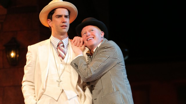 Antipholus (Hamish Linklater) and Dromio (Jesse Tyler Ferguson) get all mixed up in Shakespeare in the Park production of THE COMEDY OF ERRORS (photo by Joan Marcus)