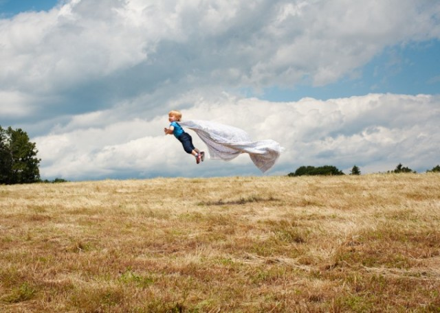 "Rachel Hulin's ""Cape Flight"" is one of many photos capturing her son seemingly flying through the air (© Rachel Hulin / courtesy ClampArt)"