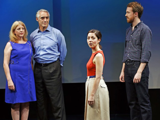 The initial meeting between the McCains and the Palins is documented in a unique way in Lucas Hnath's ABOUT A WOMAN NAMED SARAH (photo by Carol Rosegg)