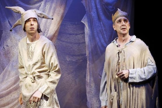 Poor Wretched Fool (Evan Shinners) and the king (Michael Countryman) fear the end is near in Tina Howe's BREAKING THE SPELL (photo by Carol Rosegg)