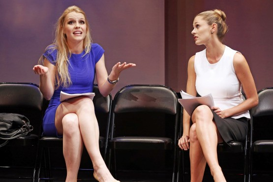 Kate (Gia Crovatin) and Paige (Elizabeth Masucci) are after the same plum part in Neil LaBute's new one-act, GOOD LUCK (IN FARSI) (photo by Carol Rosegg)