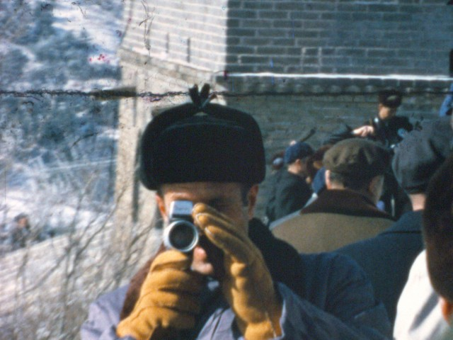 H. R. Haldeman takes home movies at the Great Wall of China in 1974 (Super 8 film still, Dipper Films)