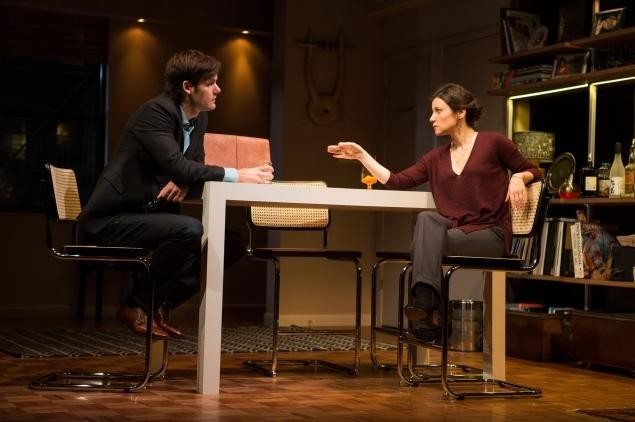 Chuck (Robert Beitzel) has no idea what Laura (Susan Pourfar) has in store for him in WOMEN OR NOTHING (photo by Joan Marcus)