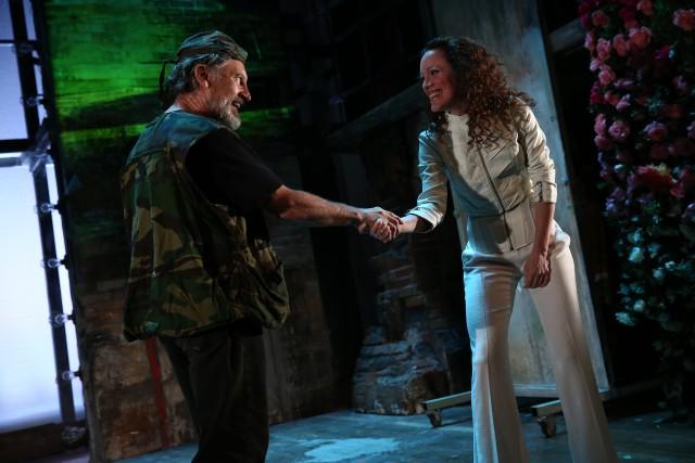 Luke (Gordon Joseph Weiss) and Angela (Samantha Soule) strike a deal in David Van Asselt's very adult fairy tale (photo by Paula Court)