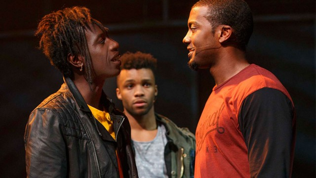 John (Saul Williams) and Darius (Joshua Boone) get down to serious business as Anthony (Dyllon Burnside) looks on in HOLLER IF YA HEAR ME (photo by Joan Marcus)