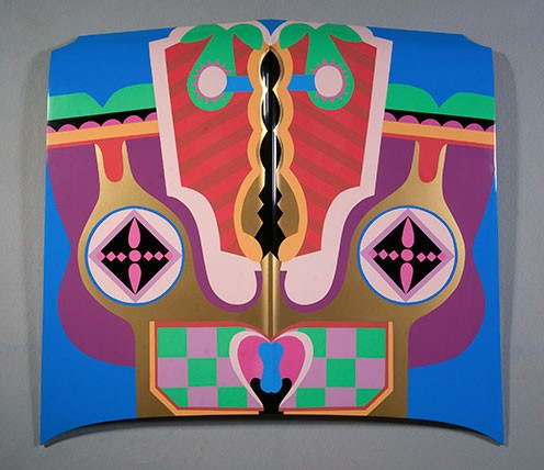 "Judy Chicago, ""Birth Hood,"" sprayed automotive lacquer on car hood, 1965/2011 (Courtesy of the artist. © Judy Chicago. Photo © Donald Woodman)"