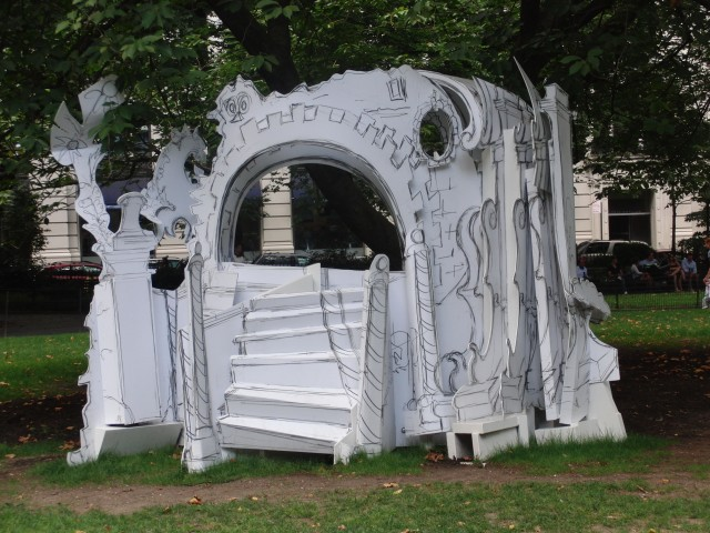 """Rococo Hut"" is one of three sculptural pieces that make up Rachel Feinstein's ""Folly"" in Madison Square Park (photo by twi-ny/mdr)"