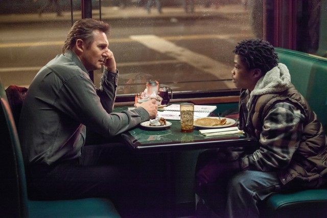 "Scudder (Liam Neeson) gets unwanted help from TJ (rapper Brian ""Astro"" Bradley) in thriller based on Lawrence Block novel"