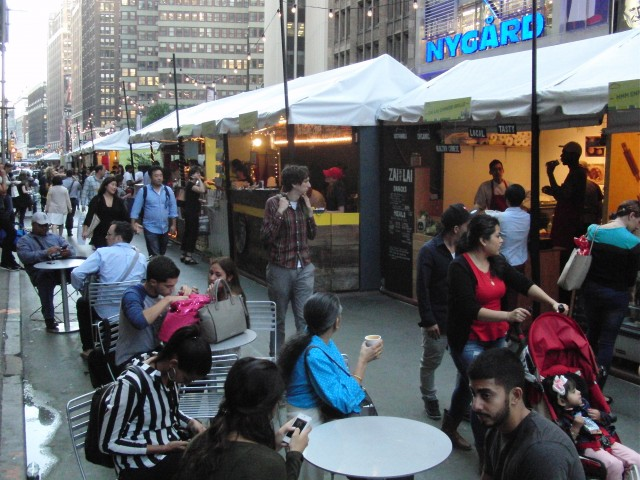 Outdoor artisanal food court is now open in Garment District (photo by twi-ny/mdr)