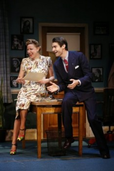 Helen Hernandez (Sophie von Haselberg) and Joseph Sistrom (Drew Gehling) try to keep Chandler and Wilder together in BILLY & RAY (photo by Carol Rosegg)