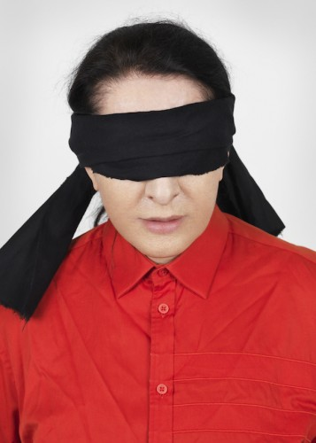 """Marina Abramovic, """"Portrait with Blindfold,"""" framed fine art pigment print, 2014 (photo by Marco Anelli)"""