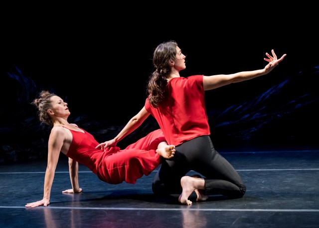 A moving duet by Katie Workum and Anna Carapetyan concludes Ivy Baldwin's BAM commission (photo by Ian Douglas)