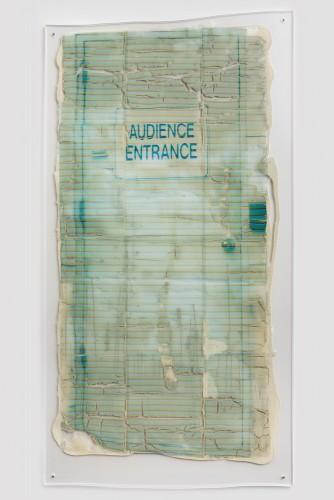 "Sara Greenberger Rafferty, ""Untitled,"" acrylic polymer and inkjet print on acetate on Plexiglas, and hardware, 2014 (courtesy Rachel Uffner Gallery)"