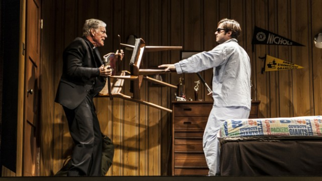Father Donald (Richard Chamberlain) fends off David Nelson () in New Group revival of STICKS AND BONES (photo by Monique Carboni)