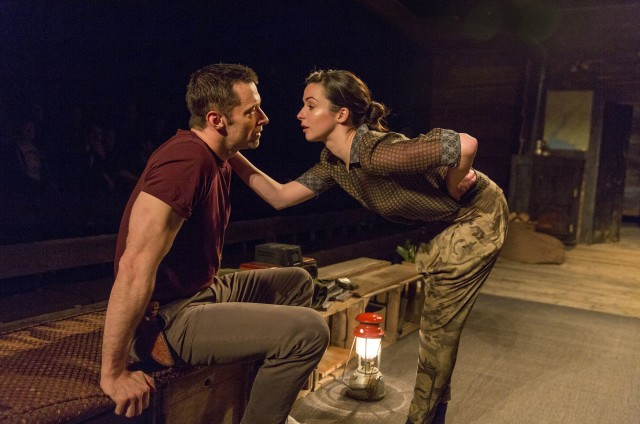 The Man (Hugh Jackman) and the Other Woman (Laura Donnelly) discuss life and love in THE RIVER (photo © 2014 Richard Termine)