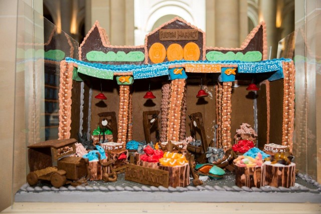 Citarella has re-created the Fulton Fish Market out of gingerbread for annual City Harvest fundraising display at Le Parker Meridien