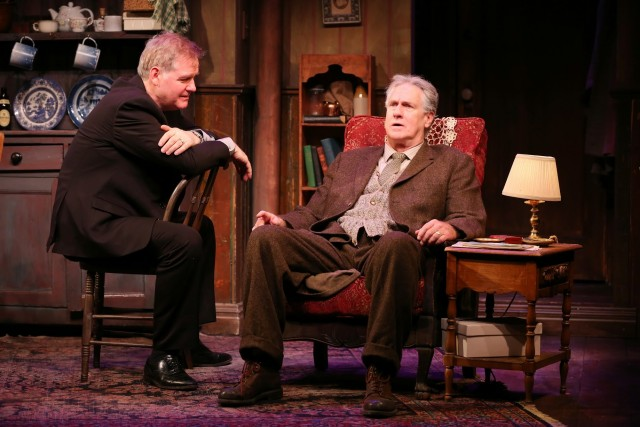 Ciarán O'Reilly and Paul O'Brien star as a son and father looking back at the past in DA (photo by Carol Rosegg)