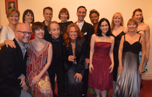 Scott Siegel hangs out with the cast of Broadway by the Year in 2014 (photo by Maryann Lopinto)