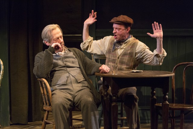 Harry Hope (Stephen Ouimette) and Ed Mosher (Larry Neumann Jr.)  are holding on to their pipe dreams in THE ICEMAN COMETH (photo by Richard Termine)