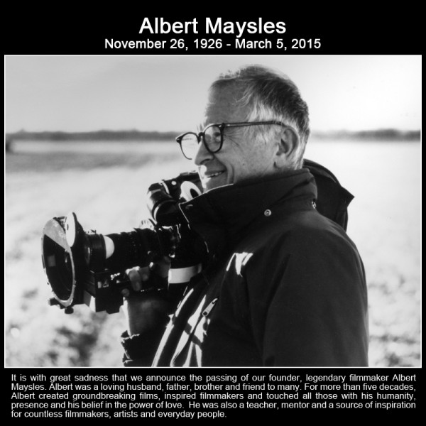 The life and career of Albert Maysles will be celebrated on March 22 at the Maysles Documentary Center