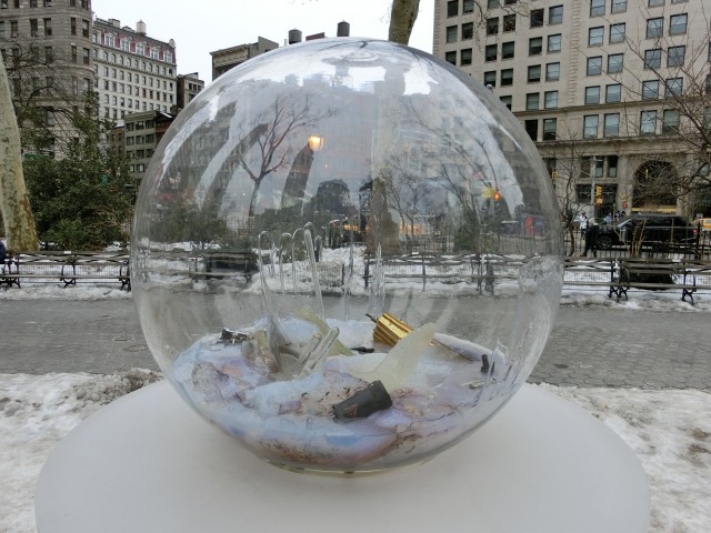 """Paula Hayes's """"Gazing Globes"""" offers a different way to look at Madison Square Park (photo by twi-ny/mdr)"""