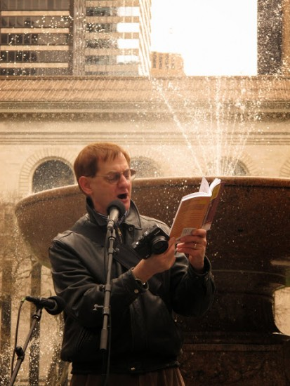 Jonathan Slaff reads from HENRY VI at 2014 birthday bash for the Bard in Bryant Park (photo by Claire Taddei)