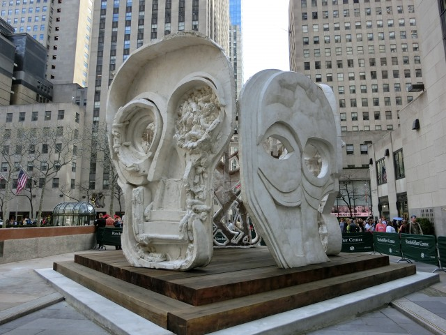 """Thomas Houseago will discuss new Rock Center work, """"Masks (Pentagon),"""" at New School talk April 29 (photo by twi-ny/mdr)"""