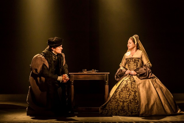 Thomas Cromwell (Ben Miles) battles with Anne Boleyn (Lydia Leonard) in second part of WOLF HALL  (photo by Johan Persson)