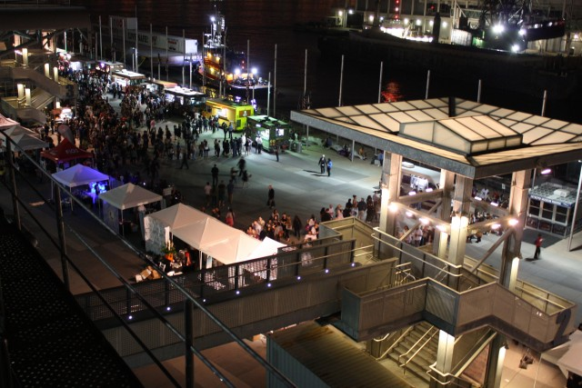 Food trucks lined up at the Intrepid for fourth annual Choice Streets festival (photo by twi-ny/mdr)