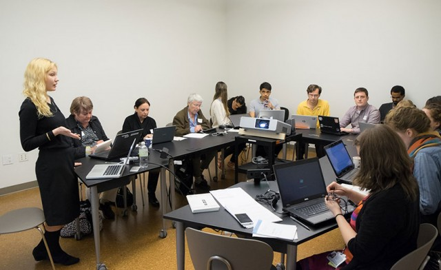 Attendees of the inaugural Guggathon edit new Wikipedia entries last October (photo by Kris McKay © 2014 Solomon R. Guggenheim Foundation, New York)