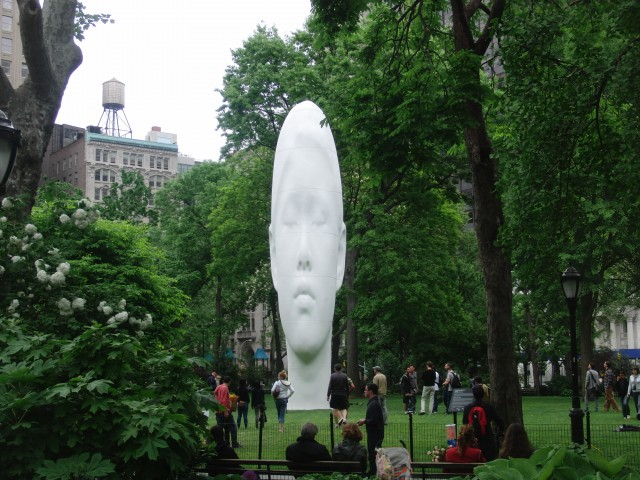 """Jaume Plensa's """"Echo"""" is a prime example of the innovative public art program in Madison Square Park (photo by twi-ny/mdr)"""
