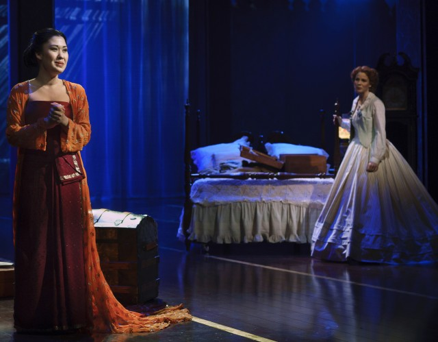 Lady Thiang (Ruthie Ann Miles) and Anna Leonewens (Kelli OHara) come together despite living very different lives (photo by Paul Kolnik)