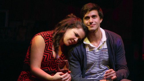 Laura (Lindsay Mendez) and Jordan (Gideon Glick) rely on each other in Joshua Harmon's bittersweet play (photo by Joan Marcus)