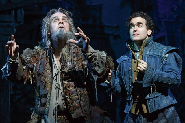 Brad Oscar tries to predict the Tony future for him and Brian d'Arcy James in SOMETHING ROTTEN! (photo by Joan Marcus)