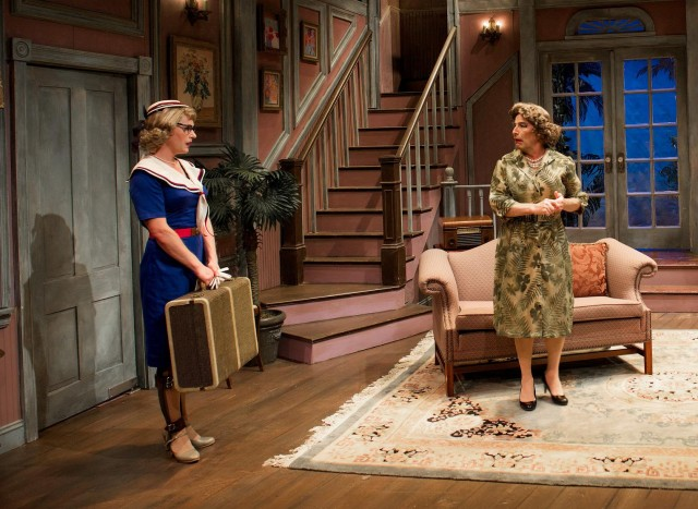 Jason Edward Cook and Everett Quinton star as battling sisters in campy noir farce (photo by John Quilty)