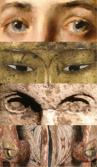 Details of four works in the Connecting Cultures installation, from top: Girl in a Japanese Costume, circa 1890, William Merritt Chase; Seated Shakyamuni Buddha, late 19th–early 20th century; Warrior Figure, Huastec, 13th or 14th Century; Mask (Ges), 19th century