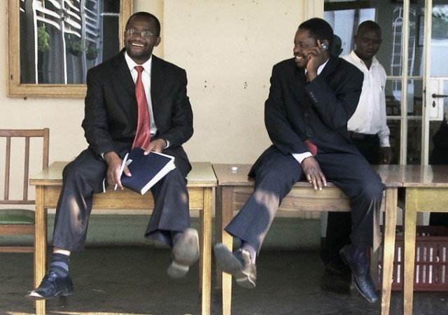 Douglas Mwonzora and Paul Mangwana try to find common ground when drafting Zimbabwe's new constitution in DEMOCRATS (photo courtesy of Upfront Films)